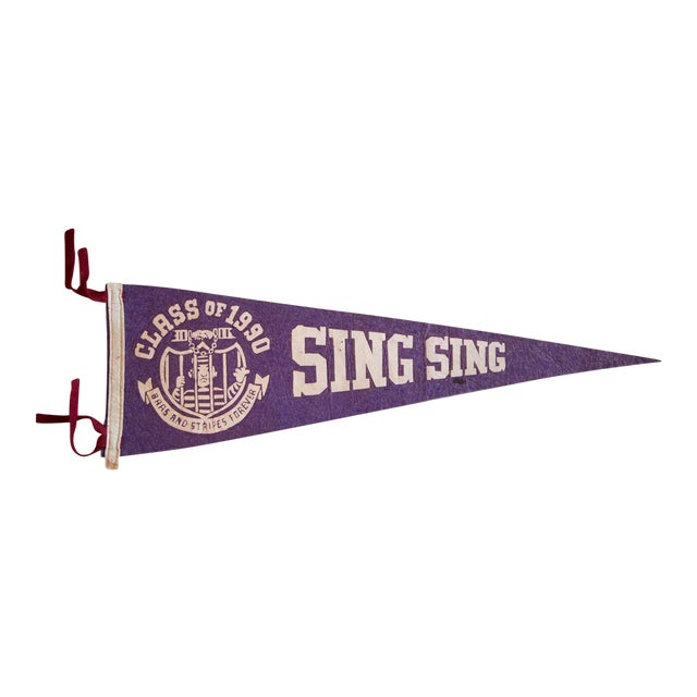 Class of 1990 Sing Sing Brass And Stripes Forever Felt Flag For Sale