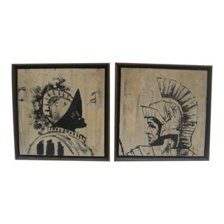The Knight & the Gladiator Paintings - A Pair