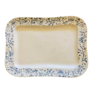 Antique Blue and White Chinoiserie English Serving Platter For Sale