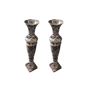 Pair of Dark Marble Urns For Sale