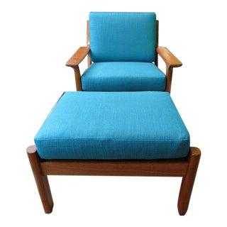 Glostrup Denmark Juul Kristensen Mid Century Modern Solid Teak Chair & Ottoman For Sale
