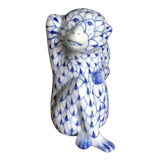 Blue White Fishnet Monkey Figurine For Sale