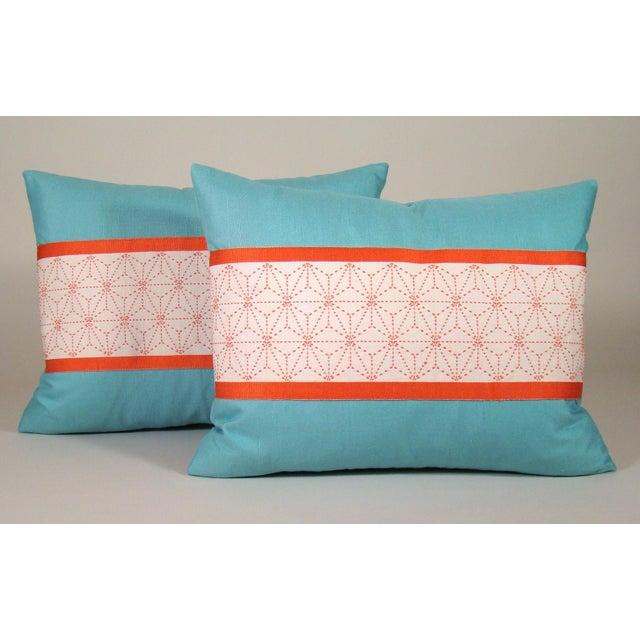 Turquoise Japanese Sashiko Obi Pillow Cover For Sale - Image 8 of 9