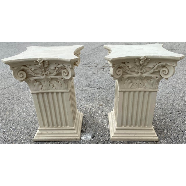 Pair Corinthian Acanthus Roman Greek dining table base or console. Pedestals support 72''x 42' 5/16 or 3/4 glass top....