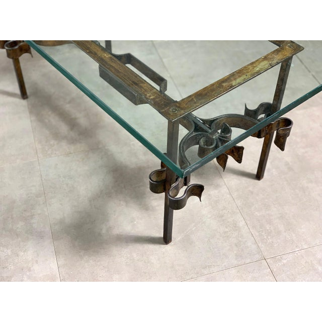 Brutalist Brutalist Spanish Gilded Iron Glass Coffee Table, Circa 1950's For Sale - Image 3 of 10