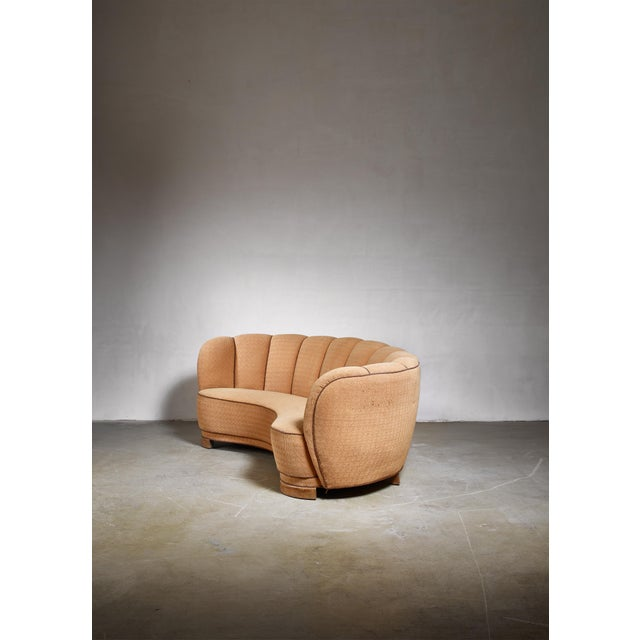 Mid-Century Modern Curved Danish Sofa, 1940s For Sale - Image 3 of 6