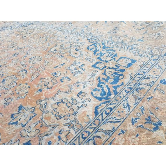 Textile Distressed Turkish Oushak Rug- 9′ × 13′5″ For Sale - Image 7 of 11