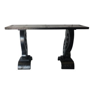 African Inspired Wood and Lacquer Ebony Console