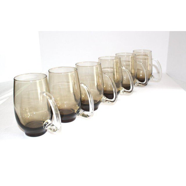 Set of Six Mid-Century Modern Tinted Glass Mugs by Libbey Glass Co. For Sale - Image 13 of 13