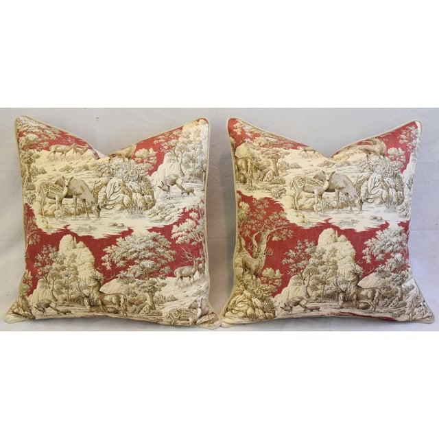 Custom Woodland Toile Deer & Velvet Pillows - a Pair - Image 6 of 10
