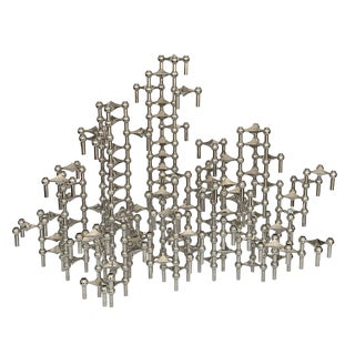 Set of 100 Piece Modular Candlestick Sculpture by Fritz Nagel and Caesar Stoffi For Sale