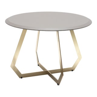 The Fetish Table W/ Warm Grey Leather - Brass / Large For Sale