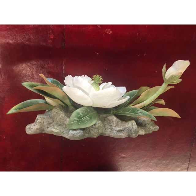 "Vintage hand-painted and hand-fashioned Boehm porcelain bisque centerpiece ""Magnolia Grandiflora"" numbered 23 in a limited..."