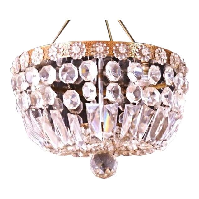 Brass & Crystal Dome Chandelier For Sale