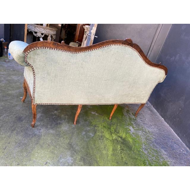Late 18th C. To Early 19th C. French Walnut Settee With Green Chenile For Sale - Image 11 of 12