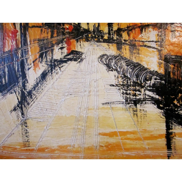 Abstract Mid-Century Modern Signed Van Hoople Modernist Industrial Abstract Landscape Impasto Style Oil on Canvas Painting For Sale - Image 3 of 9