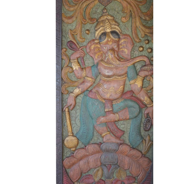Asian Vintage Colorful Indian Hand Carved Ganesha Dancing on Lotus Door Panel For Sale - Image 3 of 4