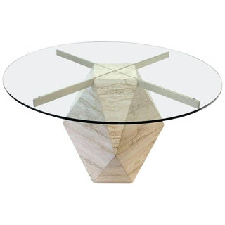 Italian Travertine and Satin Brass Dining Table by Artedi