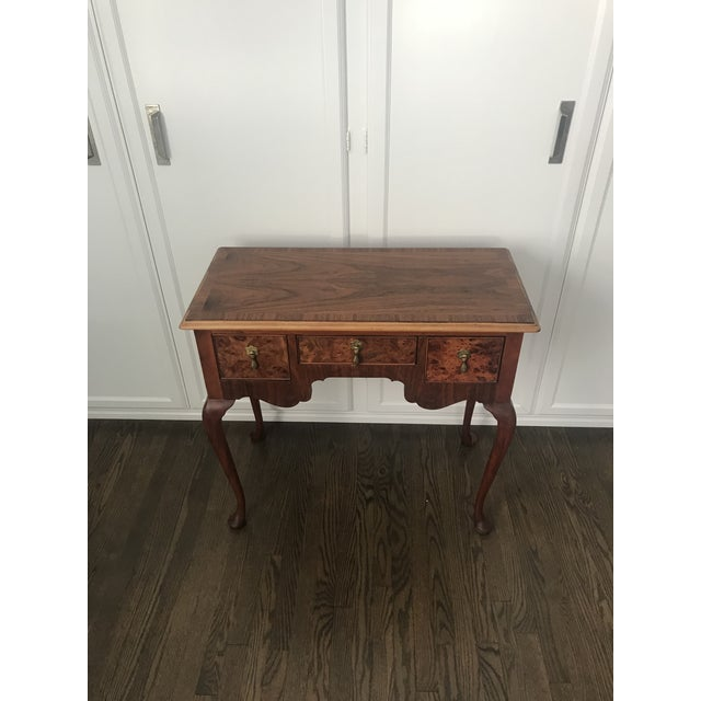 Queen Anne 1950s Queen Ann Baker Furniture Walnut Console Table For Sale - Image 3 of 10