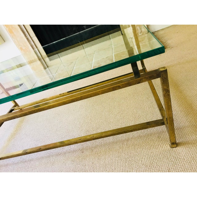 Henning Norgaard Mid Century Coffee Table Brass and Glass Floating For Sale - Image 4 of 10