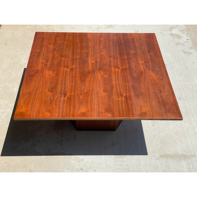 Coffee Mid-Century Danish Modern Walnut Square Coffee Table Octagonal Base For Sale - Image 8 of 11