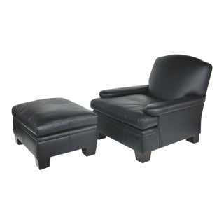 Ralph Lauren London Leather Club Chair with Matching Ottoman - 2 Pieces