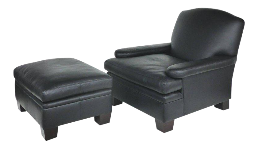 Ralph Lauren London Leather Club Chair With Matching Ottoman, Pair  Available   Image 1 Of