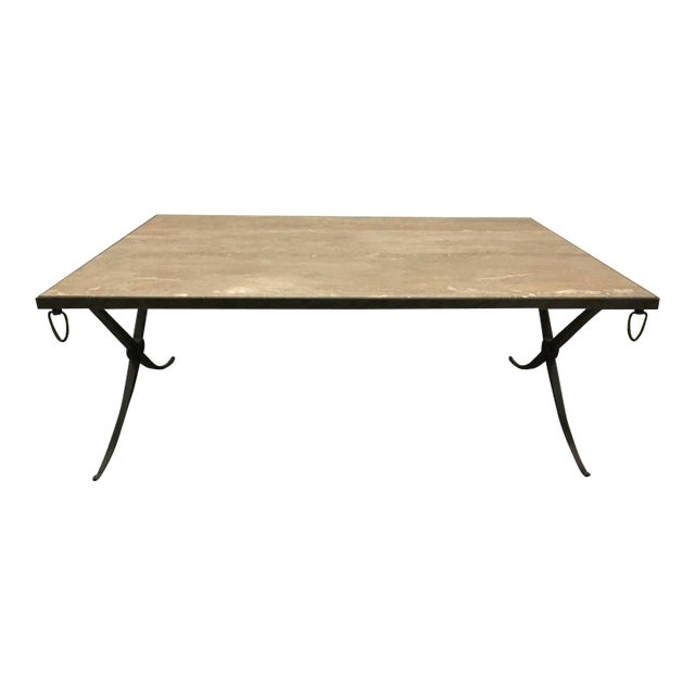Travertine Top and Wrought Iron Coffee Table For Sale