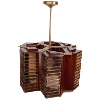 Mid-Century Cruise Ship Teak and Smoked Glass Pendant Light For Sale