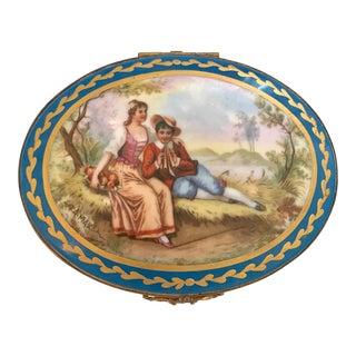 19th Century French Porcelain & Bronze Box