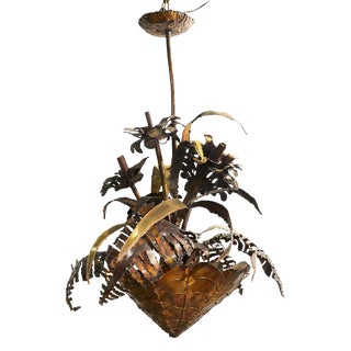 1970's Vintage Hand Wrought Copper Brutalist Palm Beach Garland Floral Basket Chandelier For Sale