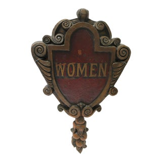 "Antique Shield Form Painted ""Women"" Sign For Sale"