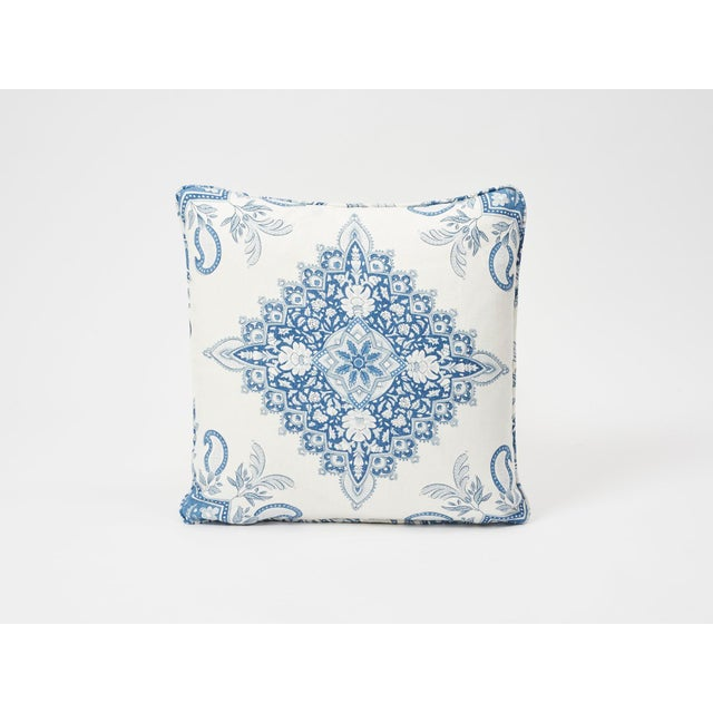 Schumacher Double-Sided Pillow in Montecito Medallion Linen Print For Sale In New York - Image 6 of 7
