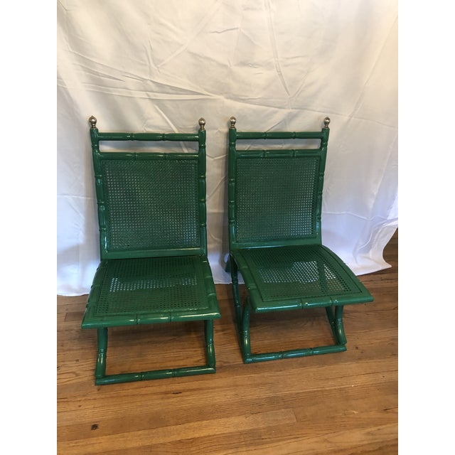 Campeche Green Faux Bamboo Chairs - a Pair For Sale - Image 9 of 9