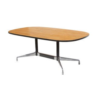 Eames Aluminum Group Conference Table With Combed Oak Top