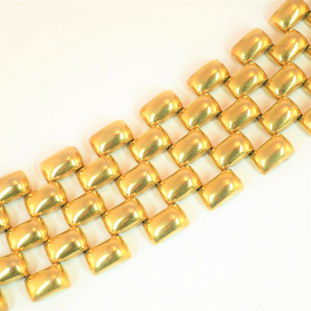 Offered here is a Kreisler gold-filled over sterling silver vermeil bracelet from the 1940s. The classic design is...