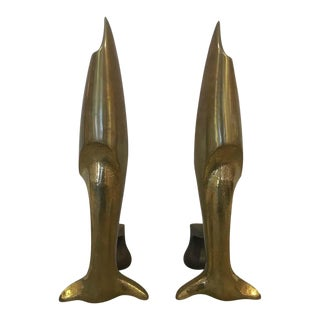 French Art Deco Andirons Bronze Attributed Pierre Legrain - a Pair For Sale