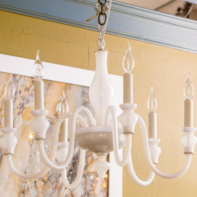 White Glass Murano Chandelier For Sale In Houston - Image 6 of 6