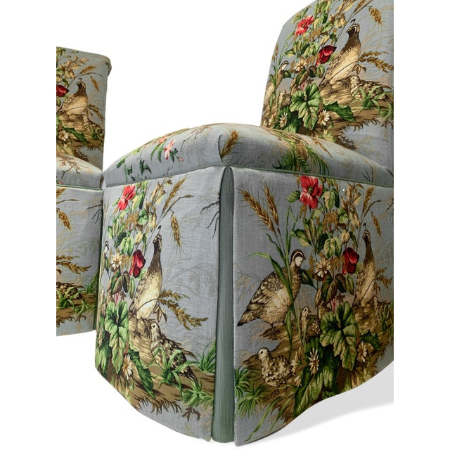 "Scalamandré Fabric ""Edwin's Covey"" Parsons Chairs- A Pair For Sale - Image 6 of 11"