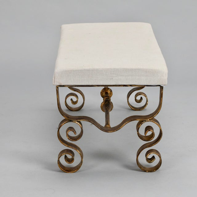 Upholstered Bench with Scrolled Gilt Metal Legs - Image 4 of 8