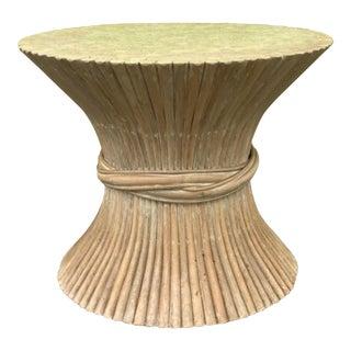 McGiure Modern Mid Century Wheat Sheaf Rattan Table For Sale