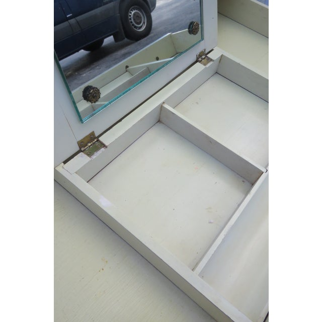 French Painted Leather Top Vanity Writing Desk With Flip Up Mirror 1272 For Sale In Miami - Image 6 of 13