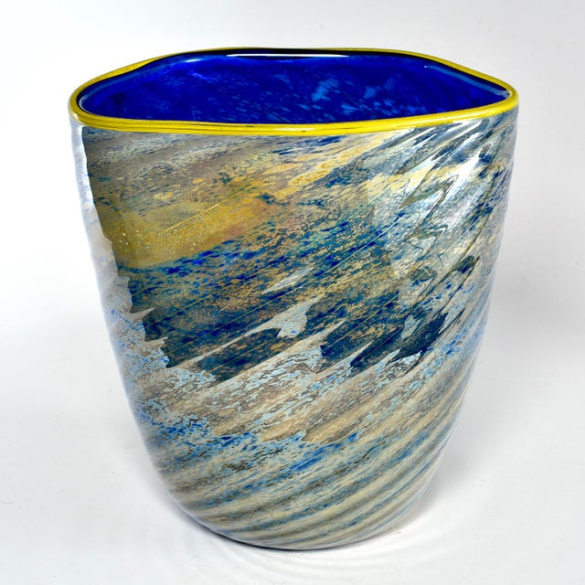Abstract Large Cobalt Blue and Yellow Art Glass Vase For Sale - Image 3 of 9