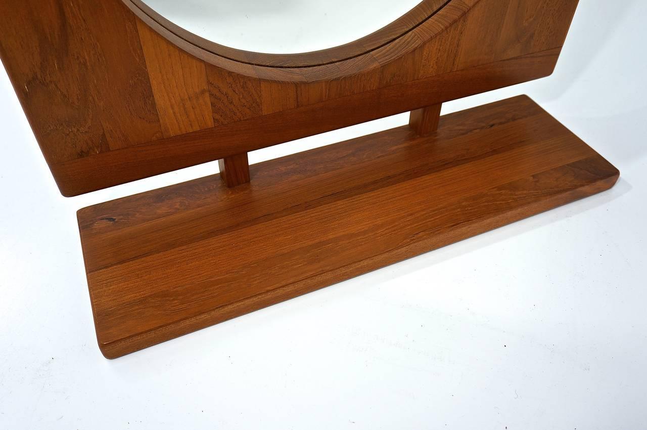Danish Teak Table Or Wall Mirror With Shelf: Pedersen And Hansen 1960s    Image 2