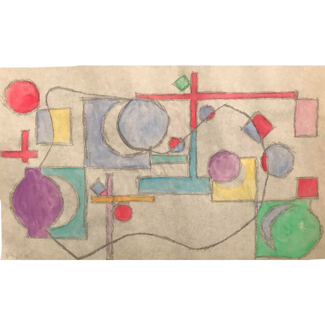Mid-Century Modern Abstract Geometric Watercolor Painting C. 1955 For Sale
