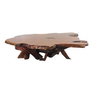 Mid Century Live Edge Slab Walnut Coffee Table For Sale