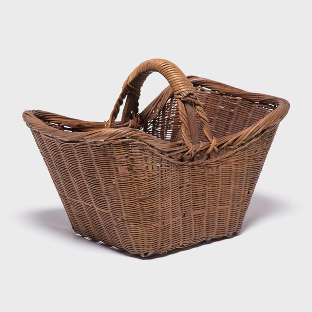 Early 20th Century Chinese Twist Woven Market Basket For Sale - Image 5 of 8