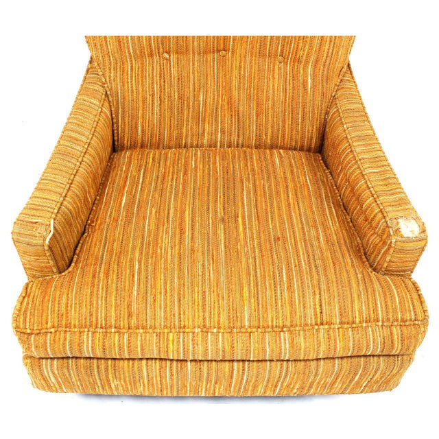 Selig Selig Lounge Chair and Matching Ottoman with Upholstery For Sale - Image 4 of 9