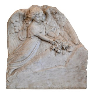 Hand-Carved Carrara Marble Angel