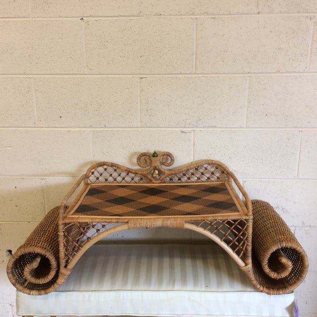 Boho Chic Retired MacKenzie Childs Ajiro Weave Wicker Rattan Scrolled Bed Tray For Sale - Image 3 of 11